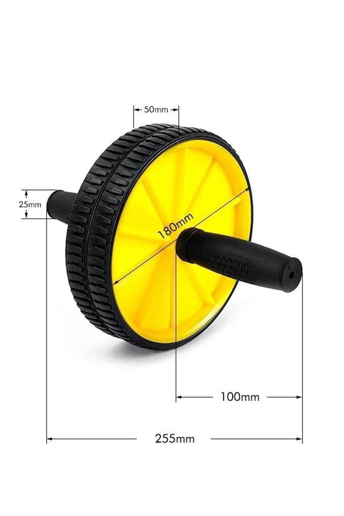Leyaton Fitness Karın Kası Sixpack Egzersiz Tekeri Spor Aleti Sarı 1
