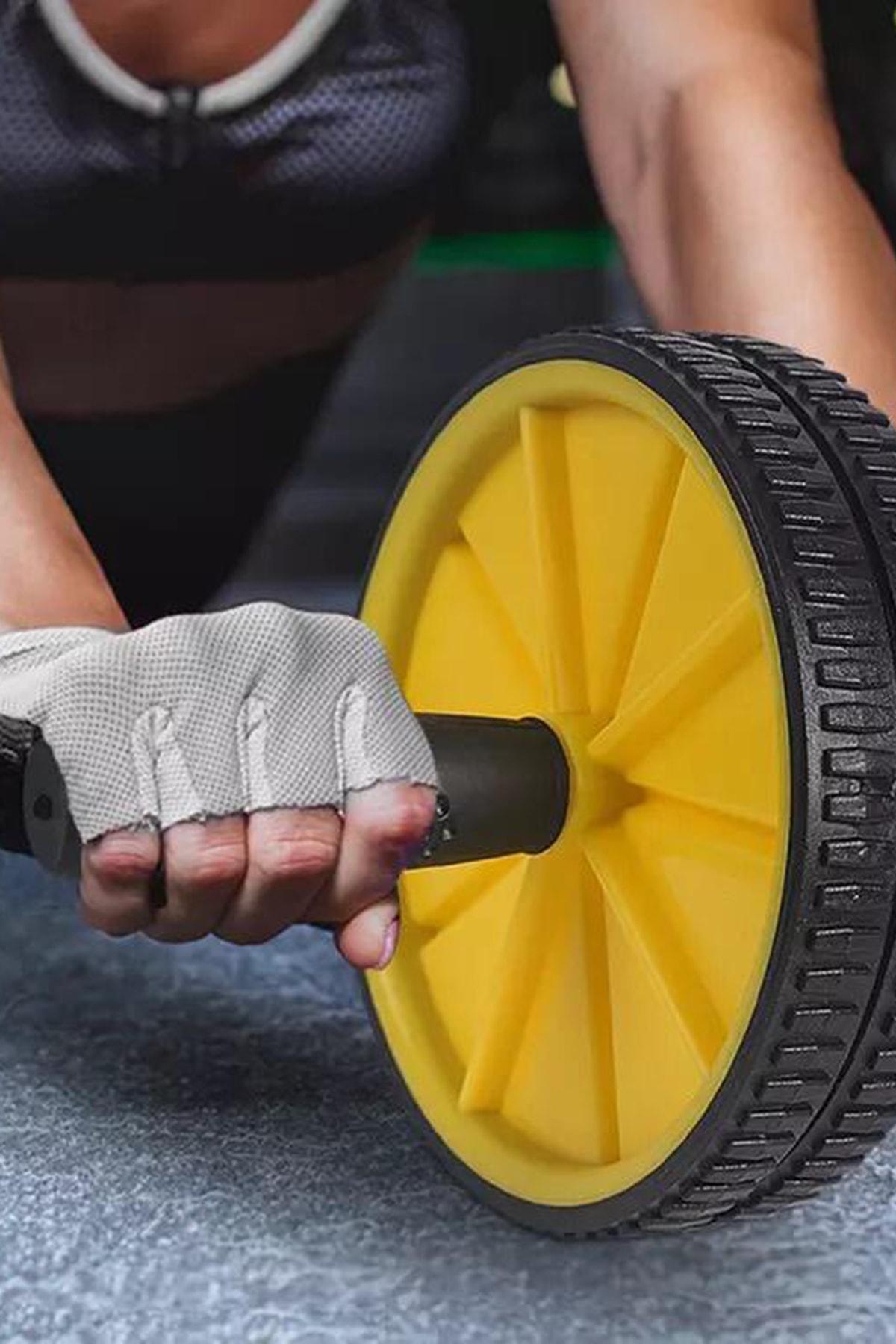 Leyaton Fitness Karın Kası Sixpack Egzersiz Tekeri Spor Aleti Sarı 4