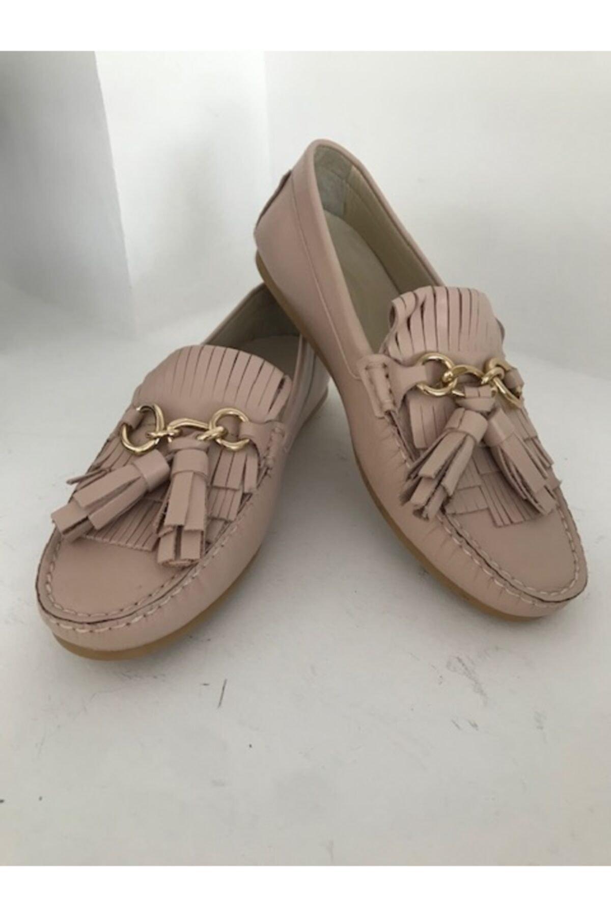 Beggi Kadın Hakiki Deri Püsküllü Loafer Ayakkabı