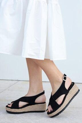 Mio Gusto Marta Siyah Dolgu Tabanlı Sandalet 1