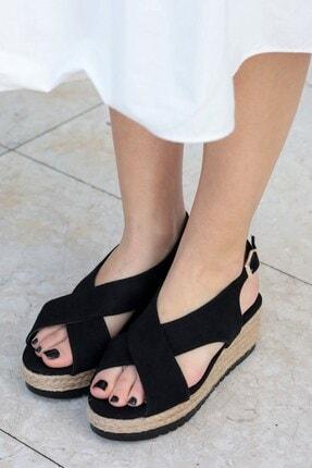 Mio Gusto Marta Siyah Dolgu Tabanlı Sandalet 2