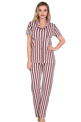 Sensu Kadın Bordo Kısa Kollu Düğmeli Pijama Takımı 0