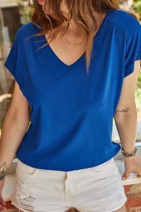 XHAN Kadın Saks V Yaka Dökümlü Viskon T-Shirt 0yxk2-43377-15 0