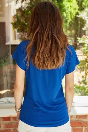 XHAN Kadın Saks V Yaka Dökümlü Viskon T-Shirt 0yxk2-43377-15 1