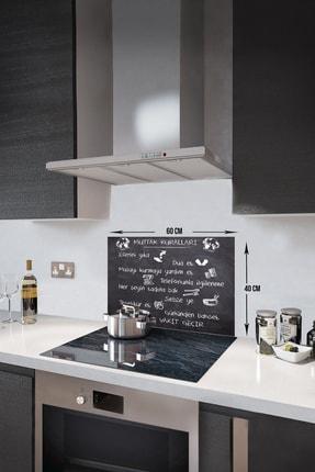 Decorita Kara Tahta Görünümlü Mutfak Kuralları | Cam Ocak Arkası Koruyucu | 40cm x 60cm 0