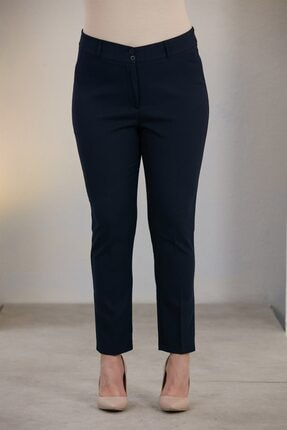 Rmg Kadın Lacivert Büyük Beden Kumaş Pantolon 0