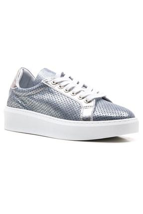GRADA Mavi Gümüş Yazlık Astarsız Hakiki Deri Kadın Ayakkabı 0