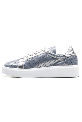 GRADA Mavi Gümüş Yazlık Astarsız Hakiki Deri Kadın Ayakkabı 2