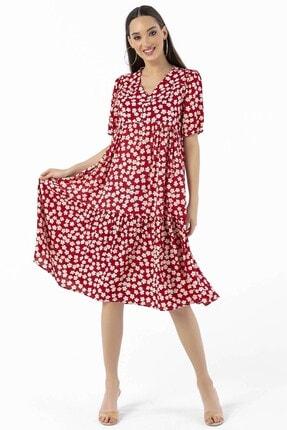 By Saygı Papatya Desenli Düğmeli Elbise Kırmızı 1
