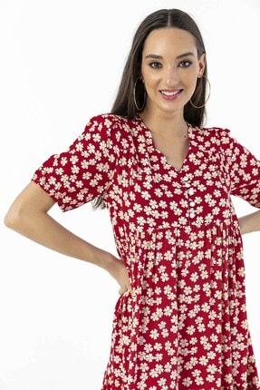 By Saygı Papatya Desenli Düğmeli Elbise Kırmızı 3