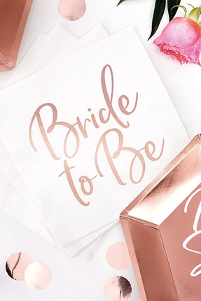 KullanAt Market Bride To Be Rose Gold Baskılı Beyaz Kağıt Peçete 33x33cm 20li 2
