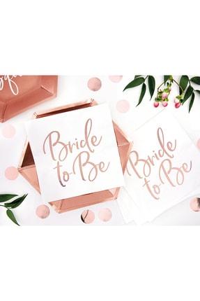 KullanAt Market Bride To Be Rose Gold Baskılı Beyaz Kağıt Peçete 33x33cm 20li 3