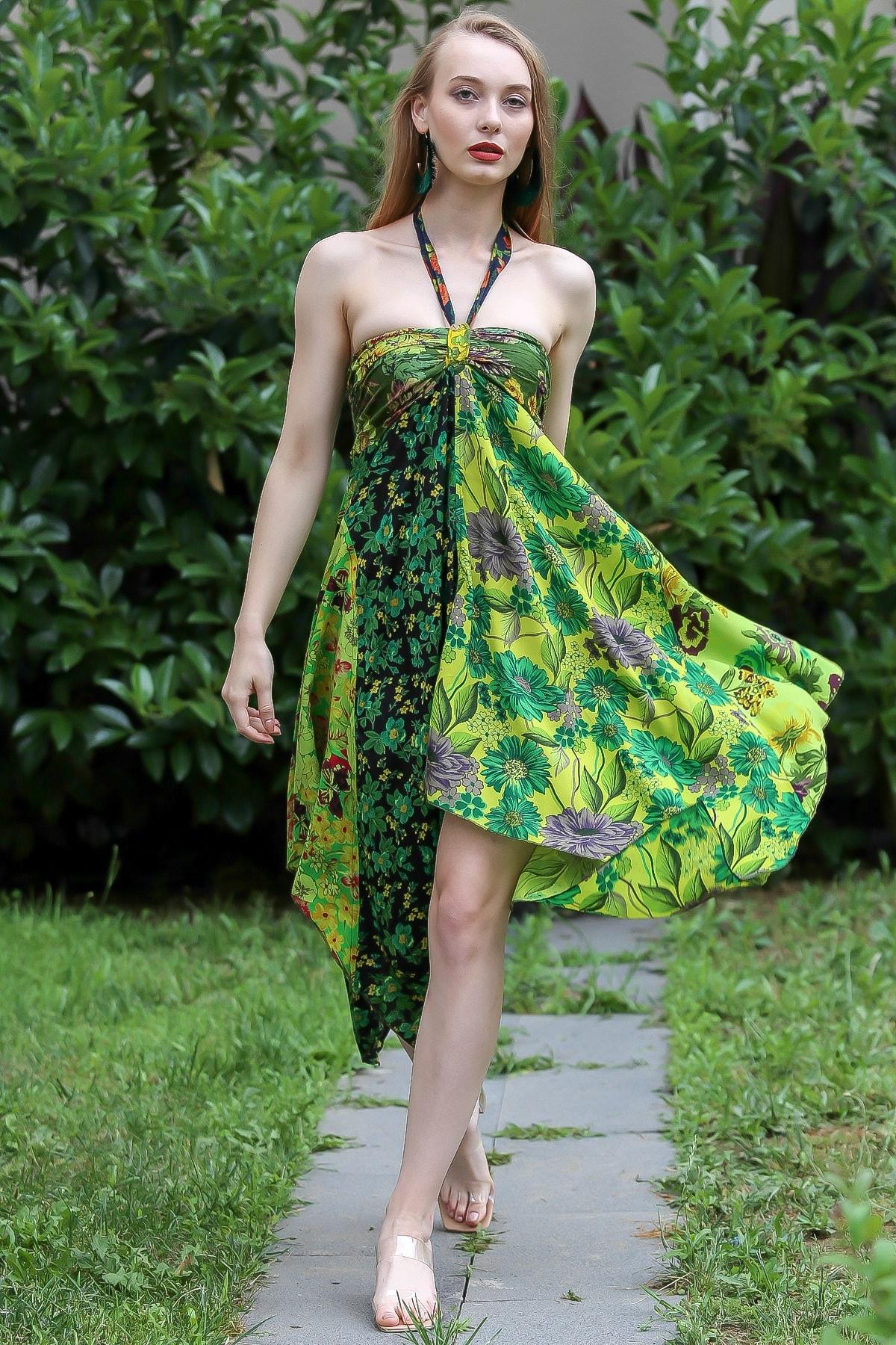 Chiccy Kadın Yeşil Bohem Straplez Boyundan Bağlamalı Patch Work Çiçekli Asimetrik Elbise M10160000EL96642 2