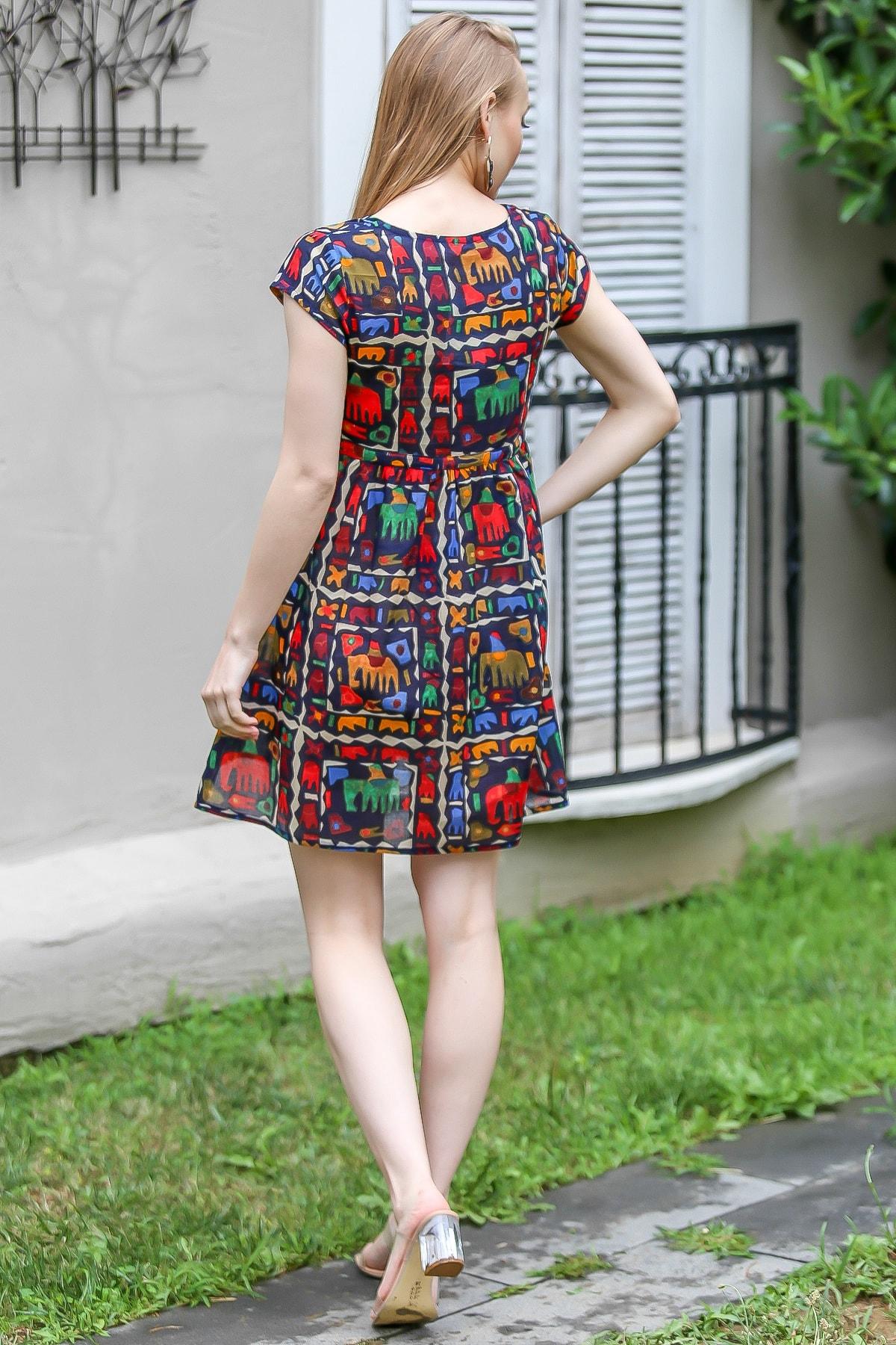Chiccy Kadın Siyah Bohem Fil Baskılı Robadan Büzgülü Tunik Elbise M10160000EL96690 3