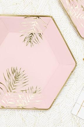 KullanAt Market Tropikal Altın Yaprak Desenli Pembe Kağıt Tabak 23 cm 6lı 1