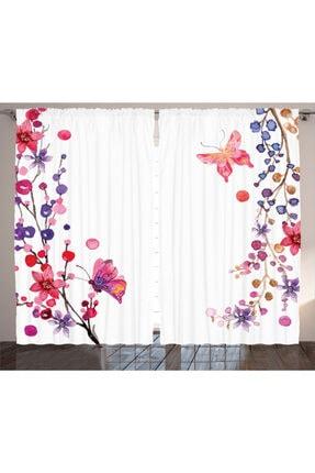 Orange Venue Çiçekli Perde Çiçek Ve Kelebek 0