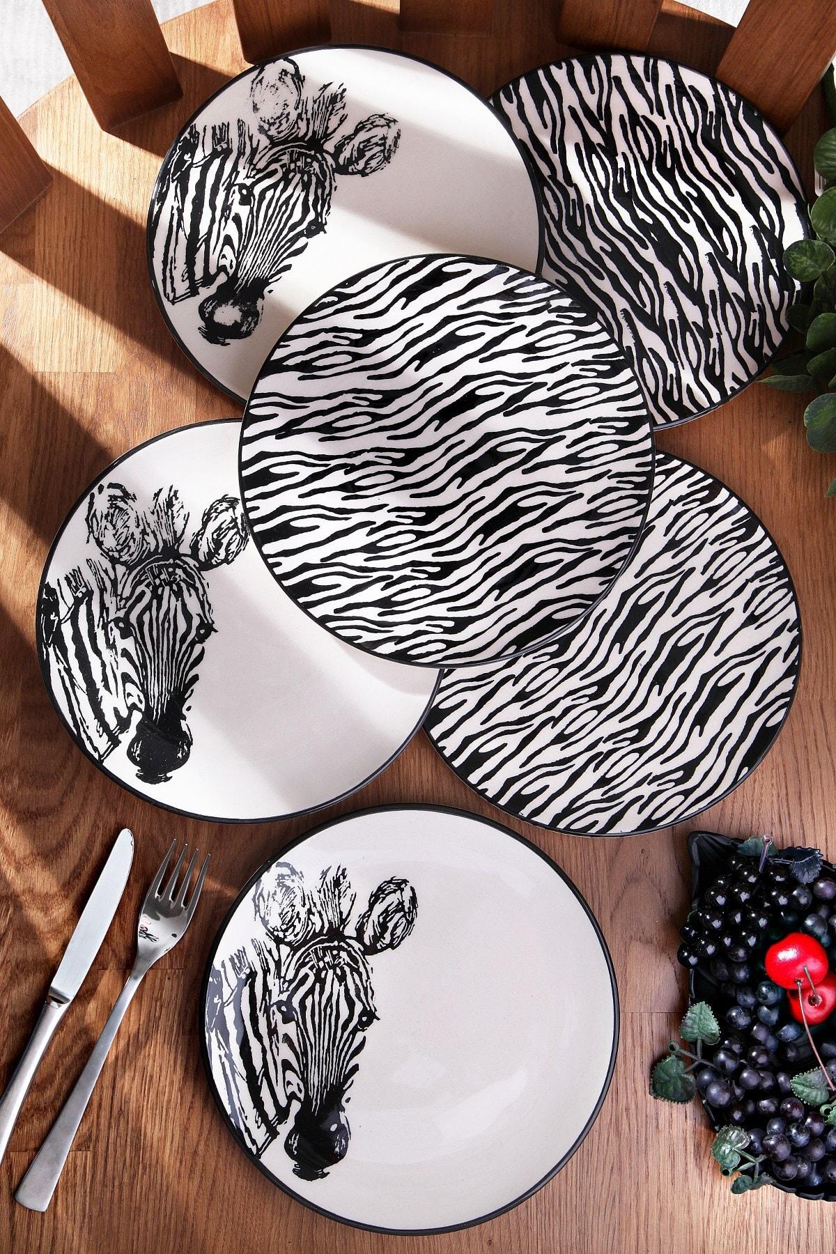 El Boyaması Zebra 6'lı Pasta Tabak Seti