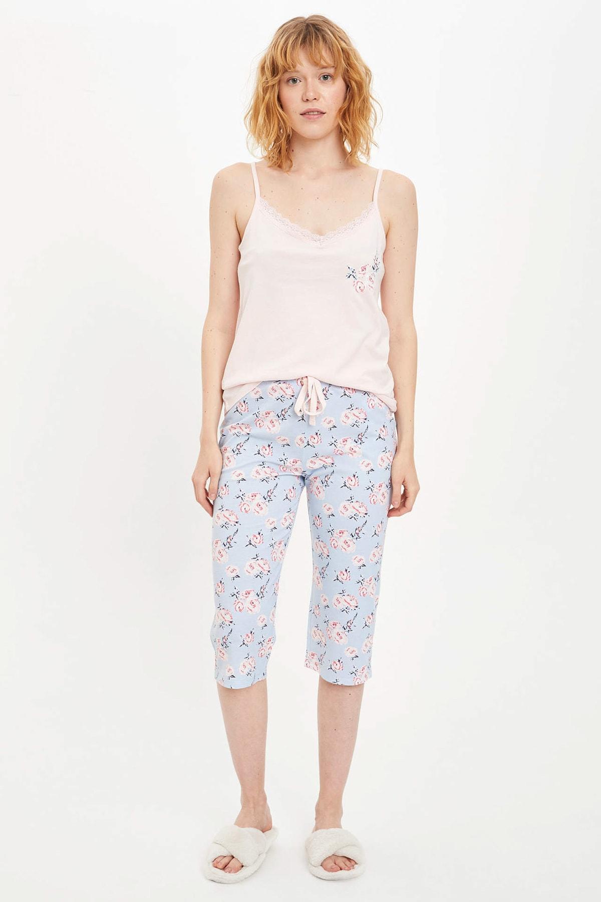 Kadın Mavi Askılı Çiçek Desenli Pijama Takımı R3831AZ20SMBE