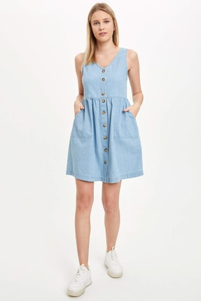 Defacto Kadın Mavi Düğmeli V Yaka Jean Elbise L2328AZ.20SM.NM63 1