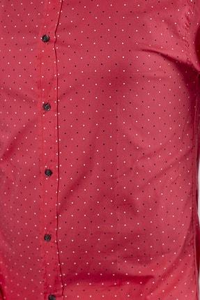 SHEHBA Erkek Pembe Desenli Slim Fit Gömlek Rox 1