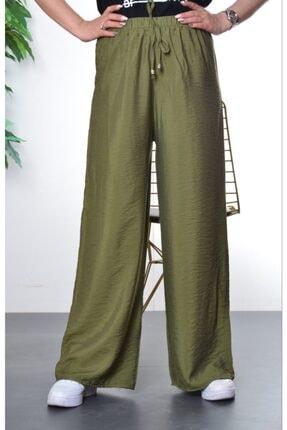 Modayns Kadın Haki Beli Lastikli Dokuma Salaş Pantolon 0