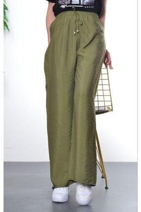 Modayns Kadın Haki Beli Lastikli Dokuma Salaş Pantolon 1