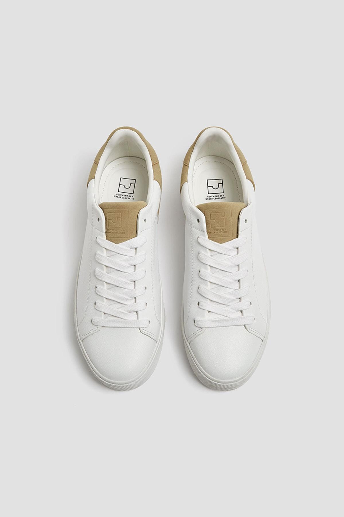 Pull & Bear Erkek Beyaz Kontrast Spor Ayakkabı 12229540 1