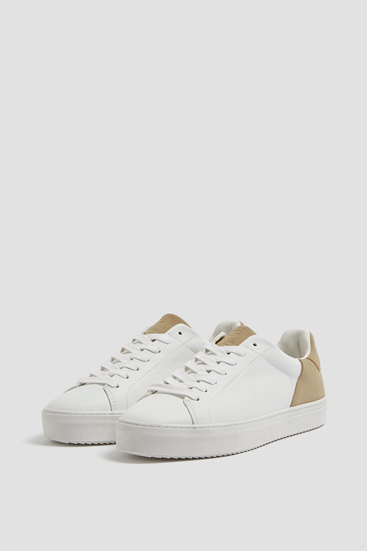 Pull & Bear Erkek Beyaz Kontrast Spor Ayakkabı 12229540 2