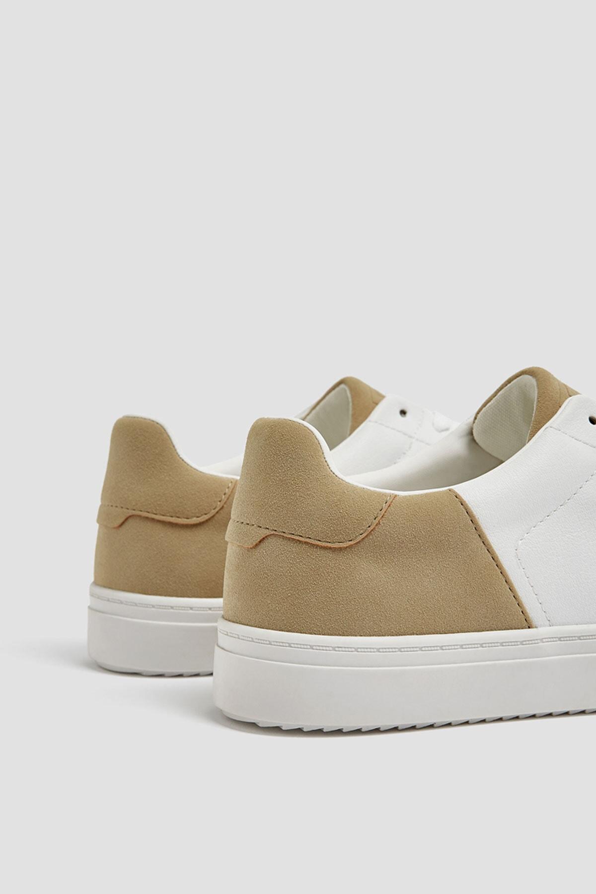 Pull & Bear Erkek Beyaz Kontrast Spor Ayakkabı 12229540 3