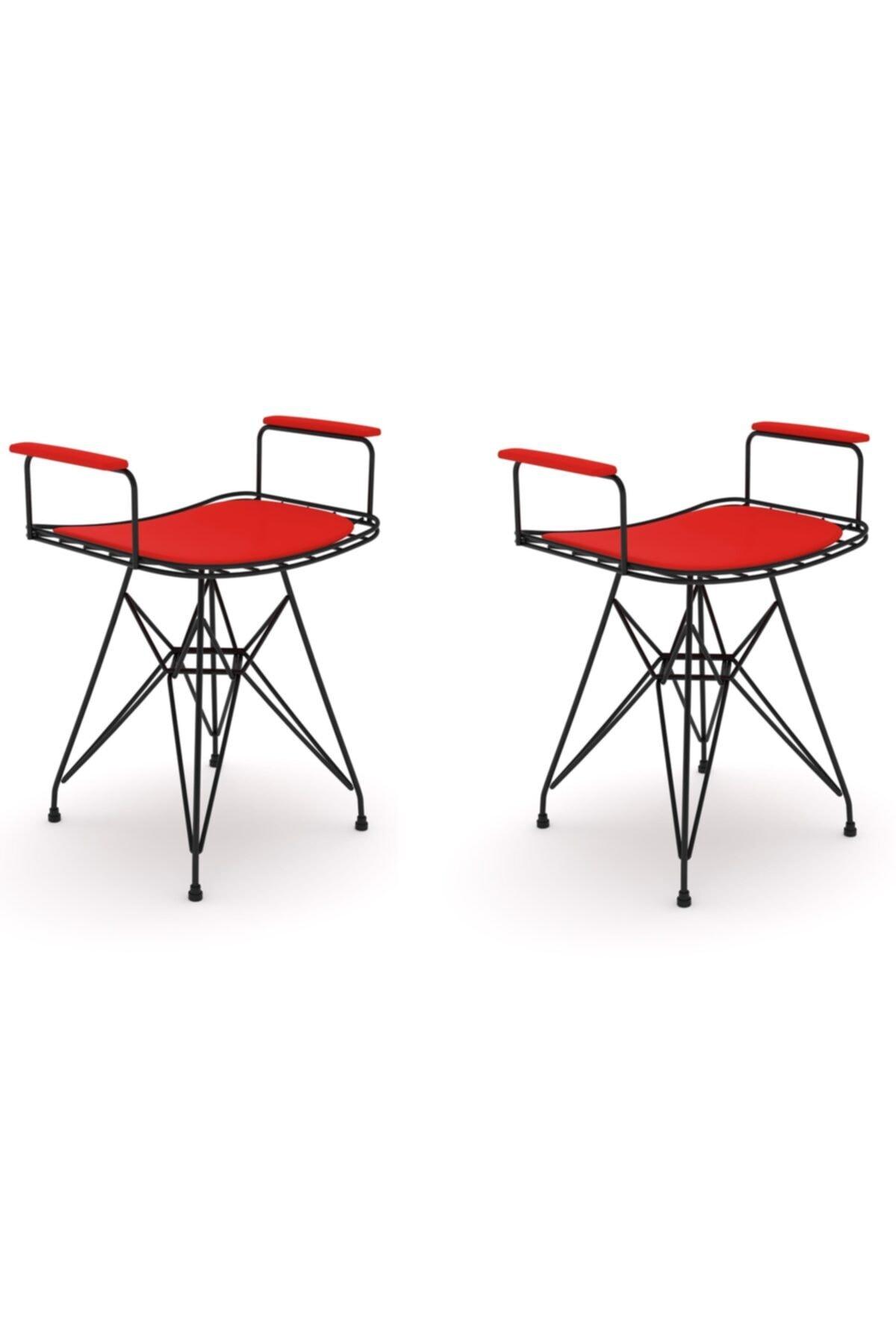 Knsz Kafes Tel Sandalyesi Tabure 2 Li Mutlu Syhkrm Kolçaklı Ofis Cafe Bahçe Mutfak