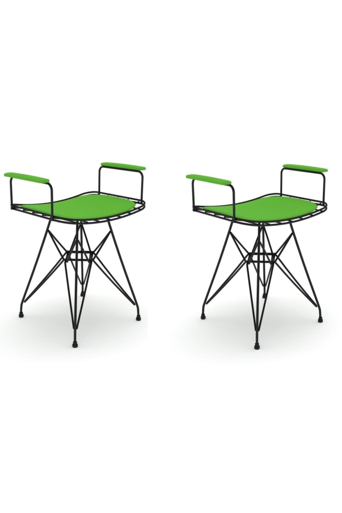 Knsz Kafes Tel Sandalyesi Tabure 2 Li Mutlu Syhyşl Kolçaklı Ofis Cafe Bahçe Mutfak