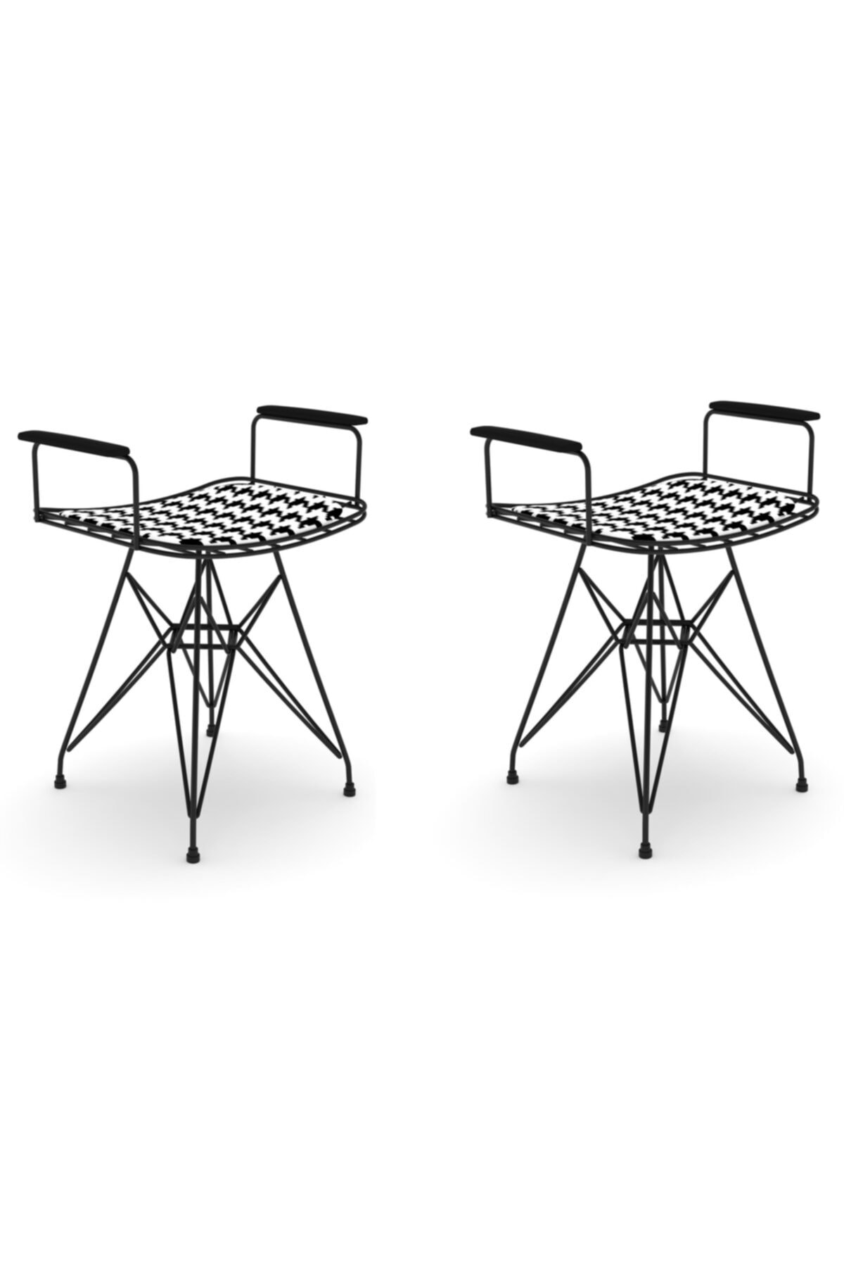 Knsz Kafes Tel Sandalyesi Tabure 2 Li Mutlu Syhkono Kolçaklı Ofis Cafe Bahçe Mutfak