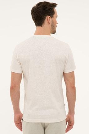 Pierre Cardin Erkek Ekru Slim Fit Bisiklet Yaka T-Shirt 2