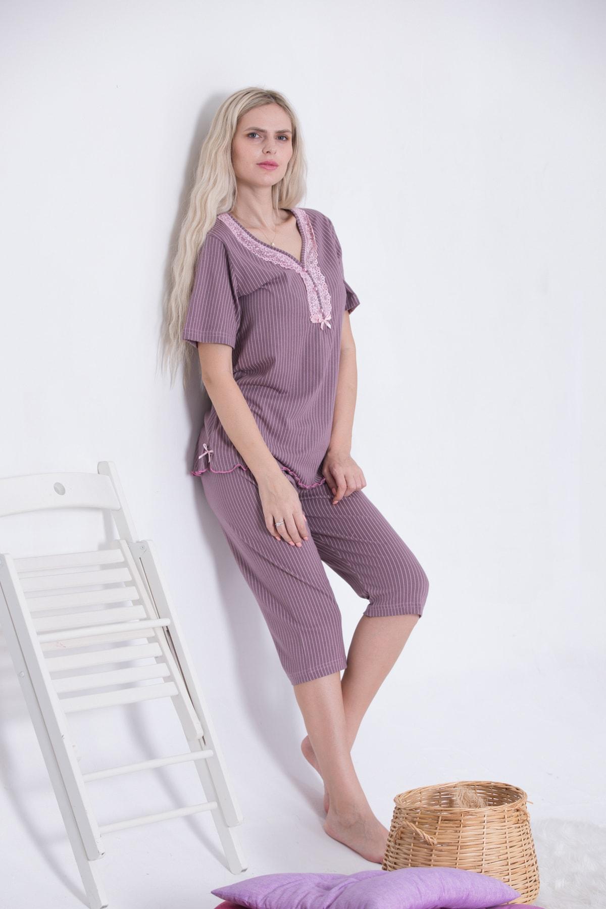 Kadın Kısa Kollu Düğmeli Bermuda Kapri Pijama Takımı Dantel Yaka Vizon Pembe