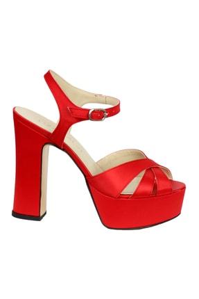 OZ DOROTHY Kadın Kırmızı Platformlu Saten Sandalet 0