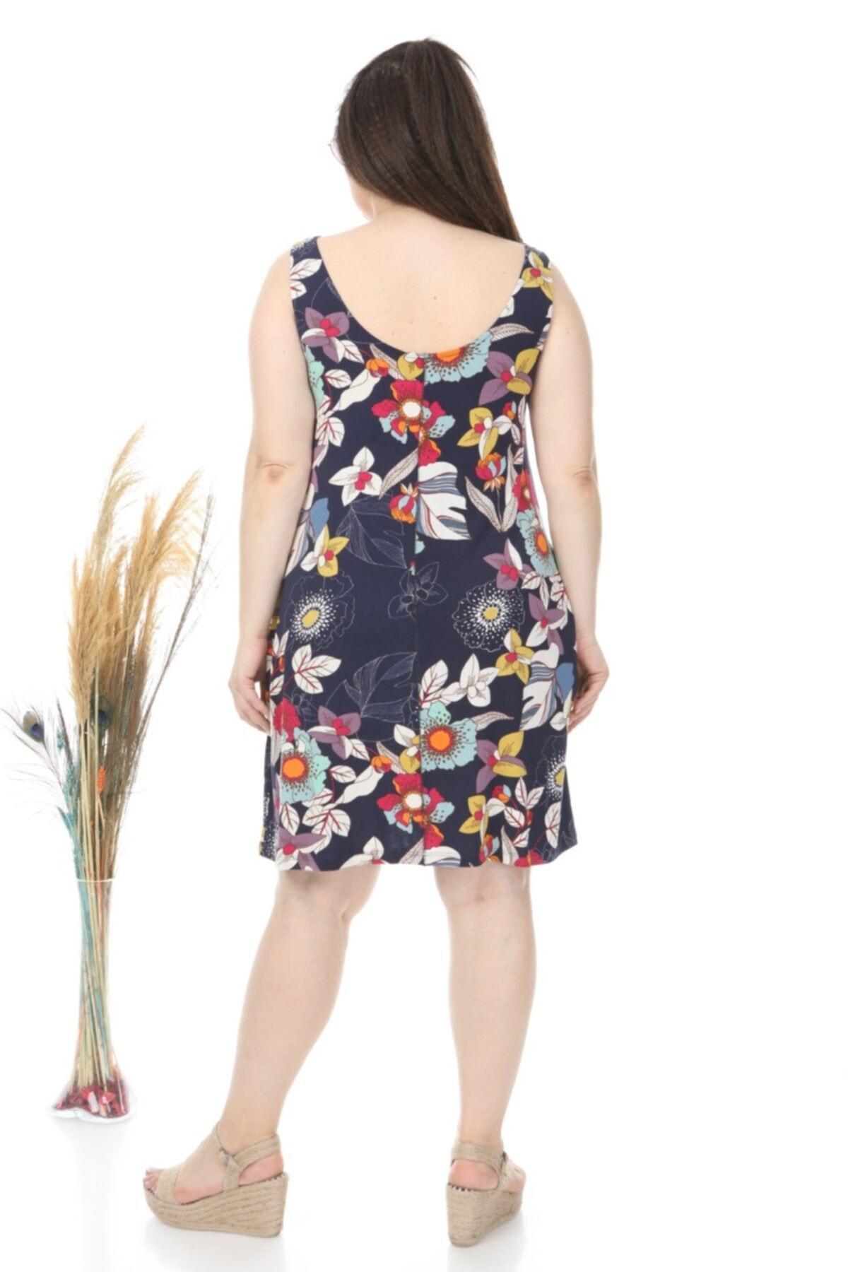 Larissa Lacivert Çiçek Desenli Askılı Elbise