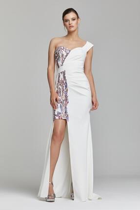 RENGIN Tek Göğsünden Yırtmaca Payet Desenli Elbise 0