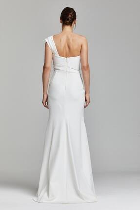RENGIN Tek Göğsünden Yırtmaca Payet Desenli Elbise 1