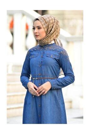 ??Omuzu Nakışlı Kot Elbise Msv8431 resmi