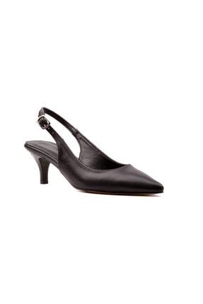 Derinet Siyah Arkası Açık Kadın Topuklu Ayakkabı 2