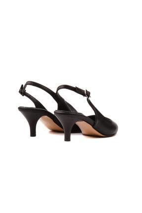 Derinet Siyah Arkası Açık Kadın Topuklu Ayakkabı 3