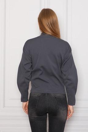 COTENCONCEPT Kadın Gri Balon Kollu Önden Fermuarlı Triko Ceket 4