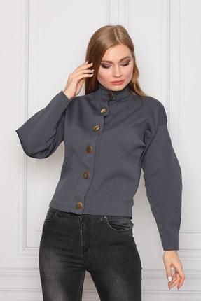 COTENCONCEPT Kadın Gri Uzun Kollu Dik Yaka Önden Düğmeli Ceket 3