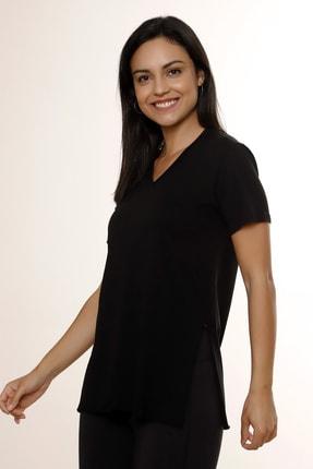 MARIQUITA Kadın Siyah Mari Yırtmaçlı T-shirt 2