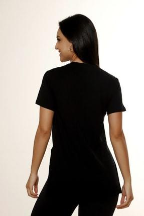 MARIQUITA Kadın Siyah Mari Yırtmaçlı T-shirt 4