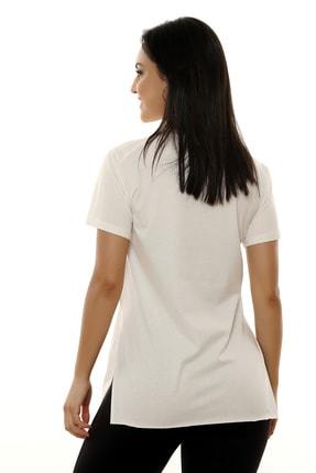 MARIQUITA Kadın Ekru Mari Yırtmaçlı T-shirt 3