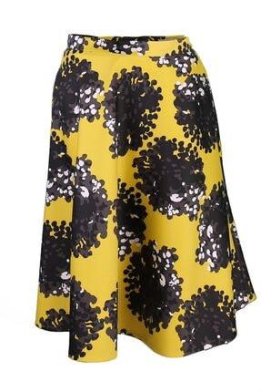 pimood Vivienne Kadın Sarı Siyah Desenli Kloş Etek 0