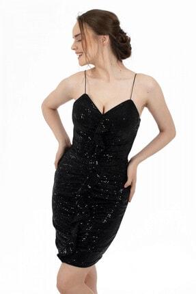 6ixty8ight Siyah Önü Drapeli Askılı Abiye Elbise 3