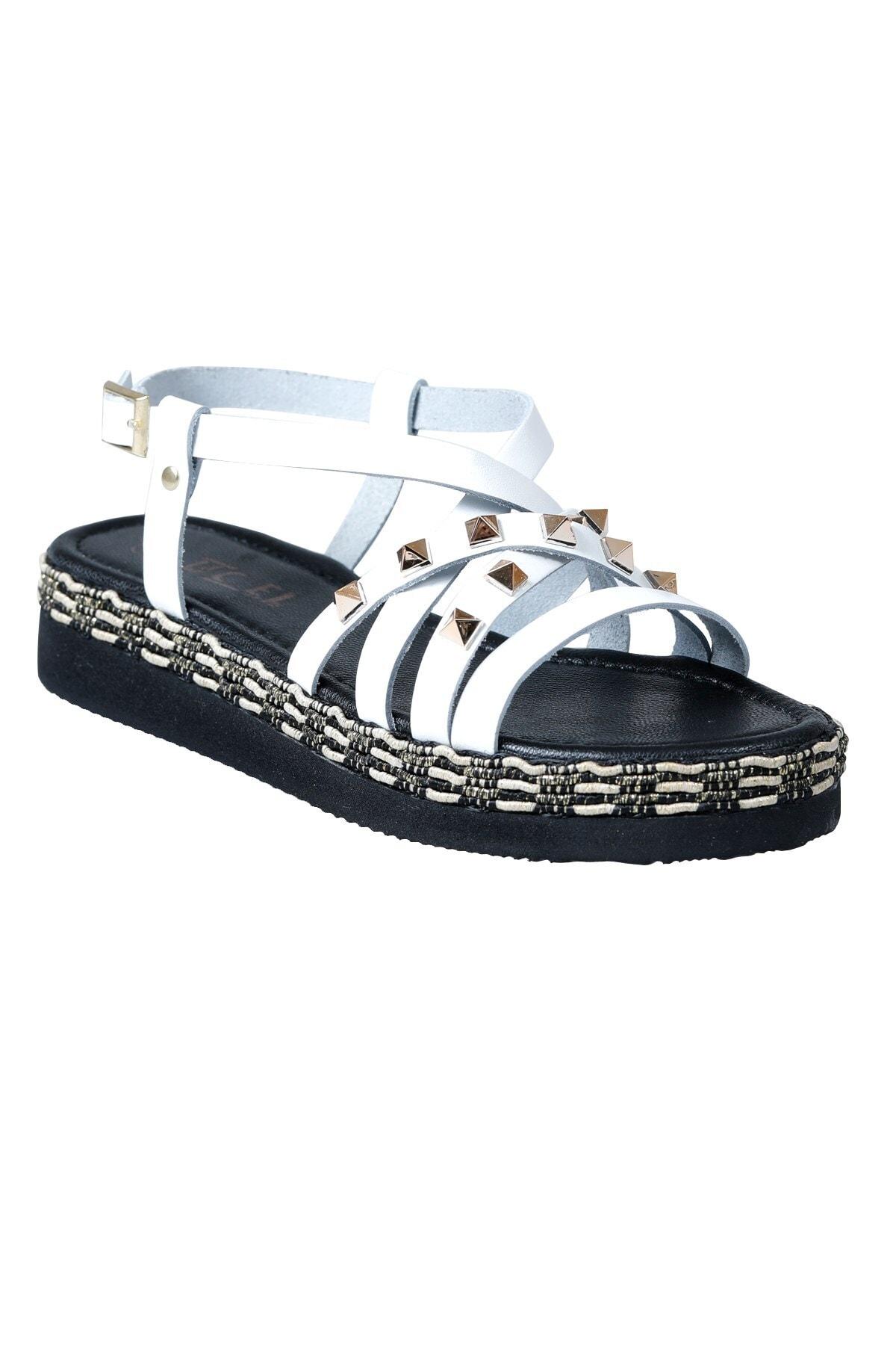 Üçel 5007 Hakiki Deri Kadın Sandalet Beyaz