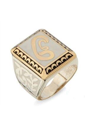 Nali Şerif Gümüş Kare Vav Harf Desenli Gümüş Erkek Yüzüğü 0